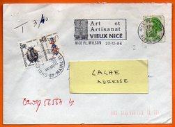 06 NICE   ART ET ARTISANAT    Taxée   1986 Lettre Entière N° Y 695 - Sellados Mecánicos (Publicitario)