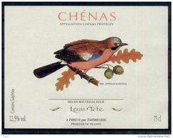 THEME OISEAUX étiquette De Vin CHENAS / GEAI - Parrots