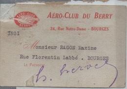 Rare Carte Adhérent Aéro Club Du Berry Cher (18) Bourges 1931 - Aviation