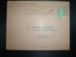 LETTRE TP MARIANNE DE GANDON 5F OBL.MEC.4 SEPT 49 LE HAVRE (76) ESPERANTO KOMERCA SERVO - Esperanto