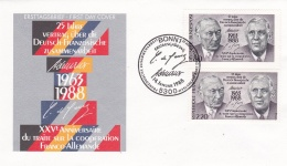 France & Germany FDC 1988 25 Jahre Cooperation (T5-3) - Joint Issues