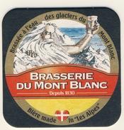 Lot De 2 S.B   Bierdeckel Coaster Bierviltje BRASSERIE DU MONT BLANC SAVOIE Eau Des Glaciers  Championne Du Monde - Sous-bocks