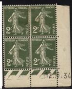 Semeuse 2 C. Vert En Bloc De 4 Coin Daté - 1906-38 Semeuse Camée