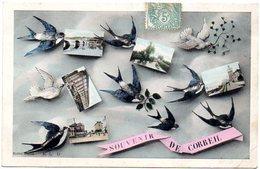 CPA 91 ( Essonne ) - Souvenir De CORBEIL  ( Multvues Portées Par Hirondelles Et Colombes ) - Corbeil Essonnes