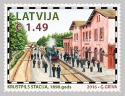 2016 TRAIN Latvia Lettland Lettonie  RAILWAY OLD STATION , HISTORY, KRUSTPILS  STAMP  MNH - Latvia