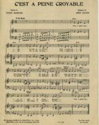 40 60 PARTITION ROCK C'EST À PEINE CROYABLE EDDIE CONSTANTINE JEFF DAVIS SAMUEL 1959 PIANO GUITARE - Jazz