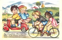 Ref N580- Illustrateur Enfants - Transports - Le Scooter  Et Le Tandem -velo -theme Scooters    -carte Bon Etat  - - Cartes Postales