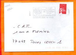 """ALPES-MMES, Le Golfe Juan, Flamme SCOTEM N°18802, """"biennale De Céramique D'art 29 Juin Au 30 Sept 2002"""" - Marcophilie (Lettres)"""