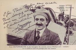 Aviateur Letort -Paris Berlin - Paris Dantzig - Pub Automobiline - Autres