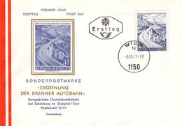 - AUTRICHE (OSTERREICH) - FDC (ERSTTAG) WIEN 8.10.1971 - Ouverture De L´AUTOROUTE Du Brenner (Brenner-Autobahn) - - Architettura