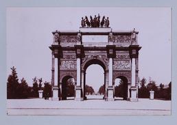 PARIS ARC DE TRIOMPHE PARC CARROUSSEL  ET PLACE VENDOME TIRAGE UNIQUE DE 1890 ARGENTIQUE  FORMA 19,5 X 12 CM ND - Photos