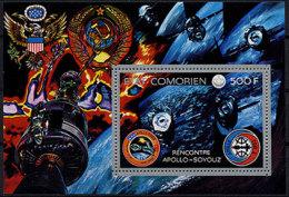 Comoro Islands, Comores, 1975, Apollo, Soyuz, Space, MNH, Michel Block 2A