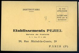 Cpa Carte Publicitaire - établissement Pejiel Paris 3è Service De Publicité     NCL27 - Publicité