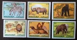 MANAMA Wild Animals, Lion, Elephant, Zebre, Ours, Rhinoceros. Dromadaire,  Michel N° 177/82 ** MNH. - Selvaggina