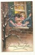 Gelukkig Nieuw Jaar. Trois Enfants Qui Font Un Signe à La Fenêtre, Neige 1935. Signée PH ( Hannes Petersen) - Nouvel An
