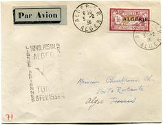 "ALGERIE LETTRE PAR AVION AVEC CACHET ""1er VOL POSTAL LIGNES AERIENNES NORD-AFRICAINES TUNIS 3 FEV. 1936"" DEPART ALGER... - Algerije (1924-1962)"