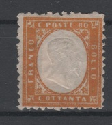 1862 Vittorio Emanuele II 80 C. Giallo Discreta Centratura SG No Gum - 1861-78 Vittorio Emanuele II