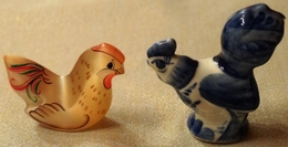 Hen And Rooster. Natural Stone Sealinit + Gzhel Ceramics (Russia) - Birds - Chicken