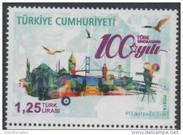 TURKEY, 2014, MNH,100 YEARS OF TURKISH CINEMA, BRIDGES, MOSQUES, STYLIZED BIRDS, 1v