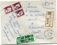 ALGERIE LETTRE RECOMMANDEE DEPART INKERMANN 30-10-1962 MOSTAGANEM POUR LA FRANCE - Algeria (1924-1962)