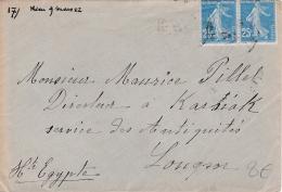 Paire De Semeuse 25 Cts Bleu Sur Lettre Pour L'Egypte - Marcophilie (Lettres)