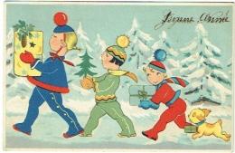 Illustrateur. Enfants. Cadeaux & Chien. - New Year