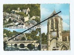 CPM - Beaumont Le Roger  - Ruines De L'Abbaye-Pont De L'étang-Clocher De L'église St Nicolas - Beaumont-le-Roger