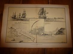 La GUERRE NAVALE ,Blocus & Embouteillage à Zeebrugge,La Rochelle,Port-Arthur,Richelieu......(dessins Albert Sébille) - Barcos