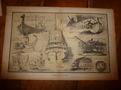 La GUERRE NAVALE ,Ornementations Des Navires (Phéniciens,Vikings,Romains Espagnols,Français).(dessins Albert Sébille) - Barcos