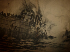"La GUERRE NAVALE , Torpillage De La "" FOURCHE ""   .(dessin  F. Lantoine ) - Barche"
