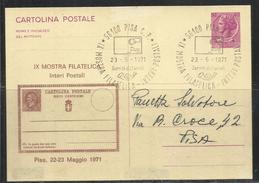 ITALIA REPUBBLICA ITALY REPUBLIC 1971 MOSTRA FILATELICA PISANA INTERI POSTALI PISA CARTOLINA TIMBRO MANIFESTAZIONE - 6. 1946-.. Repubblica