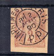 FRANCE 1890. 2 CENTIMES TIPE PAIX ET COMMERCE NON DENTELE. OBLITERÉ  .  FR79 - 1876-1898 Sage (Type II)