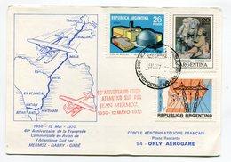 N - ARGENTINE - 40é Anniversaire De La Traversée Commerciale MERMOZ - DABRY - GIMIE - PARIS AVIATION Au Verso - Posta Aerea