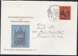 BRD 535 EF (Franz Von Taxis) Auf Brief Des Bremer BSV Mit Sonderstempel: Bremen Briefmarken-Großtauschtag 26.11.1967 - [7] République Fédérale