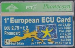 GROSSBRITANNIEN Telefonkarte 1st European ECU-Card, 20 E, Europakarte - Timbres & Monnaies