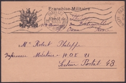 F-EX.3054 FRANCE FRANCIA WWII. ILLUSTRATED SPECIAL MILITAR POSTCARD. FRANCHISE MILITAIRE. - Postmark Collection (Covers)