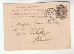1881 GB QV Postal STATIONERY Card HAMPSTEAD 4  Duplex Pmk To Hannover Germany Cover Stamps - Stamped Stationery, Airletters & Aerogrammes