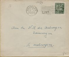 XFE-1079   STATIONSNAAMSTEMPEL    LINT                   Verzonden Via    MECHELEN   1949