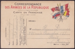 F-EX3121 FRANCE FRANCIA WWI 1914 SPECIAL MILITAR POSTCARD. FRANCHISE MILITAIRE. - Postmark Collection (Covers)