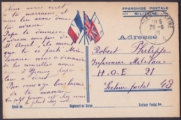 F-EX3126 FRANCE FRANCIA WWII 1939 SPECIAL MILITAR POSTCARD. FRANCHISE MILITAIRE. - Postmark Collection (Covers)