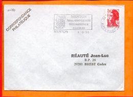 """ALPES-MMES, Menton, Flamme SCOTEM N°10789, """"700e Anniversaire Fête Médoevale 23-24 Juin 1990"""" - Postmark Collection (Covers)"""