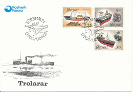 Faroe Islands FDC 1-6-1987 Complete Set Fishing Trawlers With Cachet - Faroe Islands