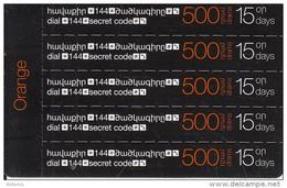 ARMENIA - 5 Orange Mini Prepaid Cards 500 AMD, Exp.date 31/12/15, Used