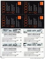 ARMENIA - 4 Orange Mini Prepaid Cards 1000 AMD(blue Band), Used
