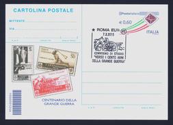 """2015 ITALIA """"CENTENARIO PRIMA GUERRA MONDIALE / CONVEGNO DI STUDIO"""" CARTOLINA POSTALE ANNULLO 07.03.2015 (ROMA) - Italia"""