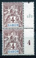 Gabon, 1904, Allegory, Allegorie, 4 C, Pair With Interspace Tab, MNH, Michel 18 - Gabun (1960-...)