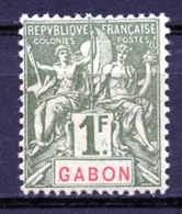 Gabon, 1904, Allegory, Allegorie, 1 Fr, MLH, Michel 30