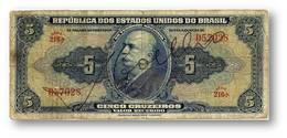 BRASIL - 5 CRUZEIROS - ND (1943 ) - P 134 - Serie 473.ª - W/o Estampa ( 1A ) - Hand-Sign. - Barão Do Rio Branco - Brasil