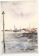 Yvan Roussel : Retour De Pêche (aquarelle N°1502 Diana Vierge) Rentrée Au Port - Pesca