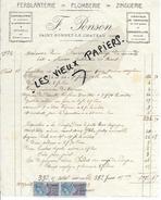 42 - Loire - ST-BONNET-LE-CHATEAU - Facture PONSON - Ferblanterie - Plomberie - Zinguerie - 1923 - REF 51C - France